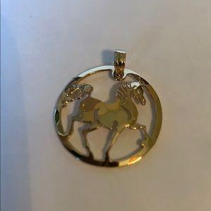 Horse gold filled pendant